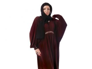 New 'Al Alwan' Coco Brown Bahraini Designer Abaya with Diamante Belt Jilbab 58