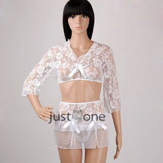 Women Ladies Sexy Lace Lingerie Sleepwear Tops Thong Skirt 3pcs Outfit White