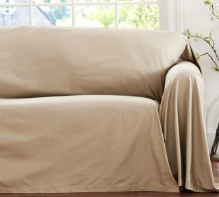 ... NIP Pottery Barn Dropcloth Loose Fit Slipcover Sofa Parchment ...