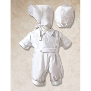 Corrine Company Baby Boys Size 6 9M White Cross Romper Outfit Baptism