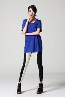 Skinny Hot Leggings Two Tone Footless Tights Black Baby Pink Womens Ladies 2NE1