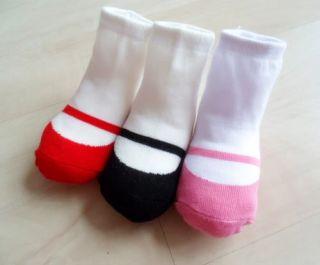 "3 Pairs x New Baby BB Infant Toddler Girls Anti Slip ""Shoes"" Cotton Socks 3 6M"