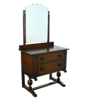 Art Deco Period Solid Oak Two Drawer Dressing Vanity Table Mirror