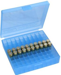 New MTM 100 Round Flip Top Ammo Box 40 45 10mm Cal Clear Blue
