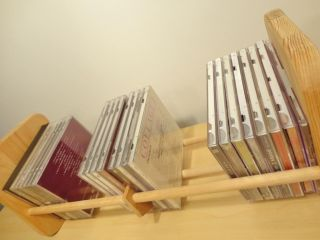 Napa Valley Wood 40 80 CD Disc DVD Books VHS Tapes Storage Rack Wooden Holder