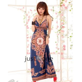 Sexy Ladies Women's Vintage Chic Flower Low Cut Bohemian Long Maxi Dress s M