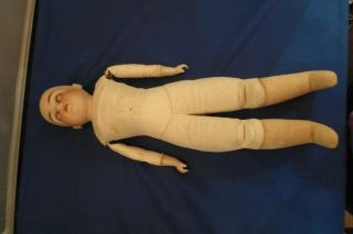 "Vintage German or French Dep 7 Bisque Doll 17"" Toddler Sleepy Blue Eyes Antique"