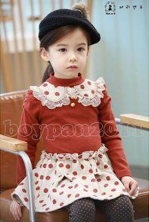 New Kids Toddlers Cotton Girls Princess Long Sleeve Tutu Skirt Dress sz2 7Years