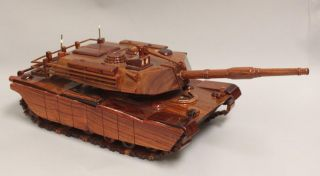 Hand Carved Mahogany Wood Art Desk Model M1 Abrams Tank US Army Marines