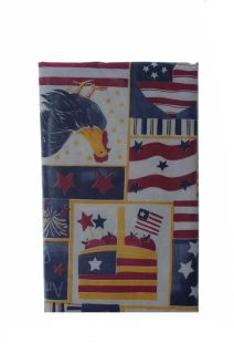 Red Blue 4th of July Memorial Day Apple Rooster Flag Square Vinyl Tablecloth New