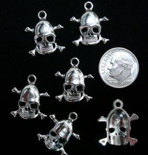 6 Skull and Cross Bones Charms Pendant Findings FPB063