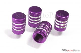 4 Car Truck Bike Purple Aluminum Tire Valve Stem Caps with Chrome Stripes