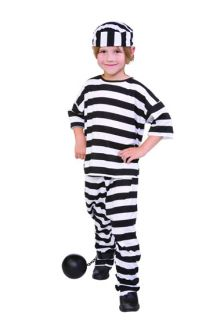 Child Prisoner Convict Boy Costumes Jailbird Black White Stripes Kids 19008