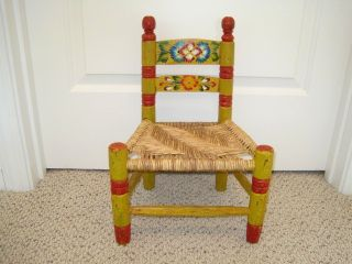 Hand Made Tole Painted Yellow Red Blue Childs Folk Art Mexican Chair Rush Seat
