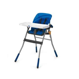 Chicco Jazzy High Chair Blue Foldable Safety Belt Detachable Wide Tray