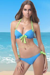 2 Pcs Hot Sexy Girl Women Padded Blue Strap Dolly Bikini Swimwear Bathing Suit M
