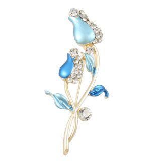 Lady Baby Blue Flower Rhinestones Decoration Pin Brooch Breastpin