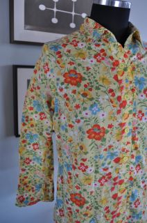 Anthropologie Odille Women's Size 12 Blouse Floral Spring Yellow Floral