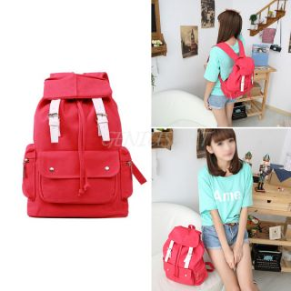 Men Women Punk Girl Cute Canvas Backpack Rucksack Gym School Shoulder Bag Red