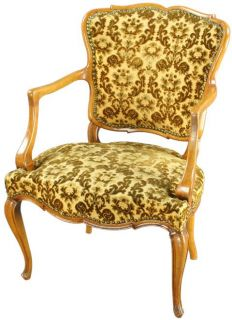 Vintage 1930 French Country Upholstered Arm Accent Chair Louis XV Beech Gold