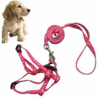 Pet Pink Dog Lead Bone Print Fit Small Dog 2 5lb Nylon Pulling Harness Leash
