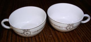 Set of 2 Crown Potteries 1940s Gold Wreath Pattern Coffee Cups