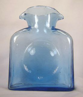 Art Glass Blenko Double Spout Pitcher Carafe Water Bottle Decanter Blue