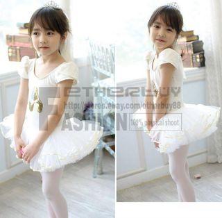 Girls White Party Leotard Ballet Tutu Skirt Dress Dance