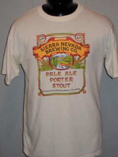 Sierra Nevada Brewing Co Pale Ale Porter Stout Beer Casual T Shirt White L