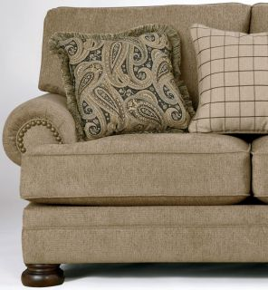 Joyce Traditional Tan Oversized Chenille Sofa Couch Set Living Room Furniture