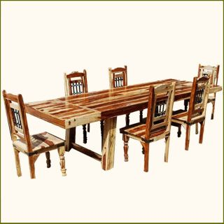 Sierra Solid Wood Furniture 7pc Dining Room Table Chair Set w Extensions