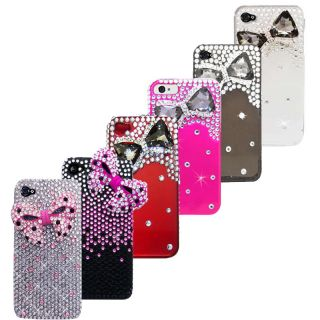 iPhone 4 4S 3D Diamonds Cute Bow Ribbon Bling Protector Case Cover Screen Guard