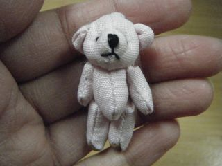 "Miniature Tiny Small Jointed Teddy Bear 1 5"" Blue Denim Dolls House Craft Animal"
