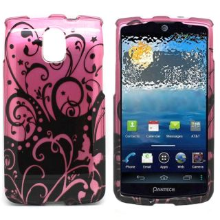 Black Purple Swirl Case for Pantech Discover P9090 Cell Phone Hard Skin Cover