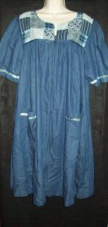 Go Softly 100 Cotton Denim Zip Front House Dress Muu Duster Patchwork XL