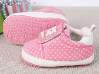 New Toddler Baby Girl Pink Dots Hard Sole Sneakers Shoes 6 9 Months A999