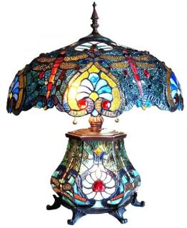 Asian Dreams Antique Stained Glass Table Accent Lamp
