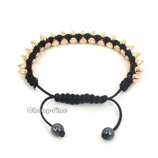 Gold Tone Bullet Head Beads Bead Black Hemp Bracelet