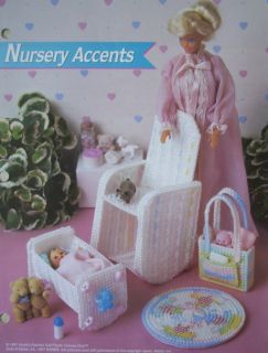Nursery Accents Fashion Doll Plastic Canvas Pattern Cradle Rocker Diaper Bag