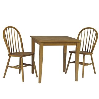Oak Wood Dining Room Table and 2 Windsor Chairs Set