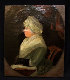 Antique 18th Cent American Folk Art Woman Portrait Relined and Restrctched