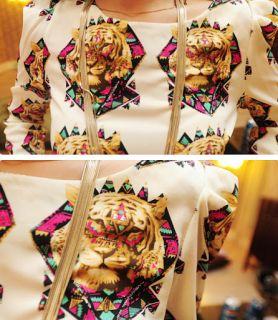 Tiger Print Tribal Ladies Blouse Black Shirt White Animal Top Party Work Elegant