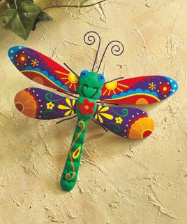 Dragonfly Butterfly Garden Outdoor Metal Fence Wall Art Statue Yard Decor Whimsy