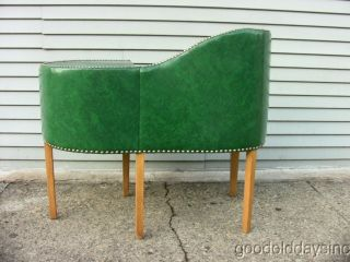 Vintage 1940s 1950s Green Vinyl Gossip Bench Phone Stand Chair