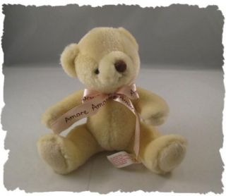 "Russ Berrie Cream ""Amore"" Baby Teddy Bear Plush Sweet"
