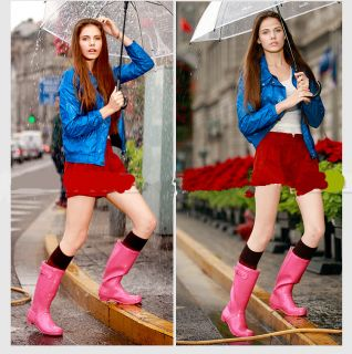 Candy Colors Women's Fashion Rain Boots Tall Canister Woman Boots Overshoes