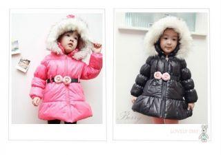 Saucy Girls Lamb Velvet Lining Faux Fur Hoodie Warm Coat Kids Snowsuit Rose Belt
