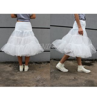 Women 2 Layer Swing Hoop Underskirt Rockabilly Dance Petticoat Knee Length Ivory
