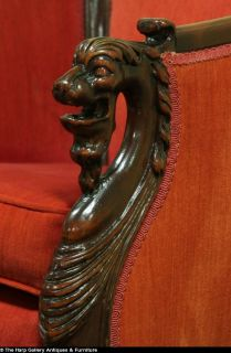 Lion Head Paw Carved Mahogany Antique 1920's Armchair