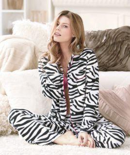 2pc Zebra Animal Print Fleece Winter Pajamas Lounge Warm Christmas Holiday Women